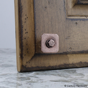 Century, Raw Authentic, 27mm Zinc Die Cast Square Knob, Aged Matte Red Copper, installed
