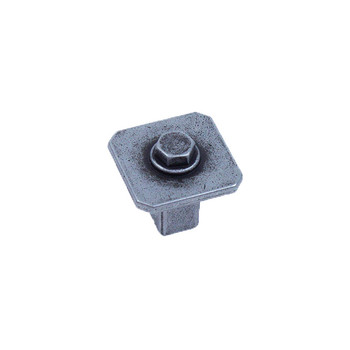 Century, Raw Authentic, 27mm Zinc Die Cast Square Knob, Matte Old Iron