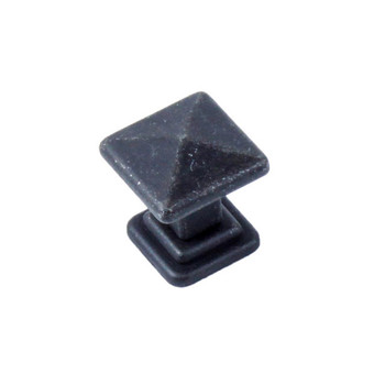 "Century, Raw Authentic, 1"" Square Knob, Matte Black Steel"