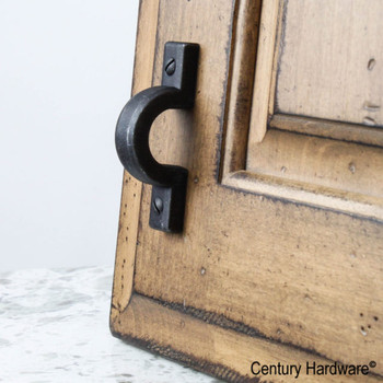 "Century, Raw Authentic, 1 1/4"" (32mm) Zinc Die Cast Pull, Matte Black Steel, installed"