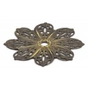 """Cal Crystal, Backplate, 1 3/4"""" Flower, Antique Brass"""