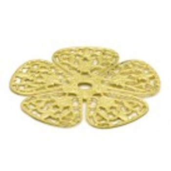 "Cal Crystal, Backplates, 1 3/4"" Rounded Flower Knob Backplate, Polished Brass"
