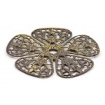 "Cal Crystal, Backplates, 1 3/4"" Rounded Flower Knob Backplate, Antique Brass"