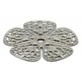 """Cal Crystal, Backplate, 1 3/4"""" Rounded Flower, Polished Nickel"""