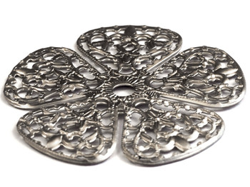 """Cal Crystal, Backplate, 1 3/4"""" Rounded Flower, Satin Nickel"""