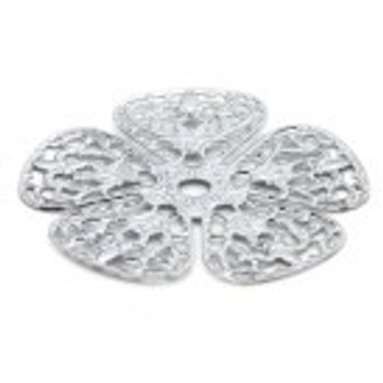 """Cal Crystal, Backplate, 1 3/4"""" Rounded Flower, Polished Chrome"""