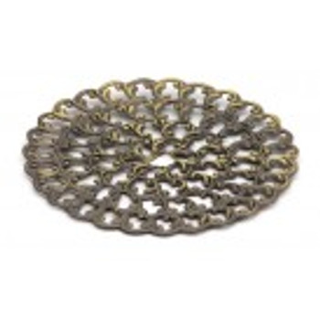 """Cal Crystal, Backplate, 1 7/8"""" Round, Antique Brass"""
