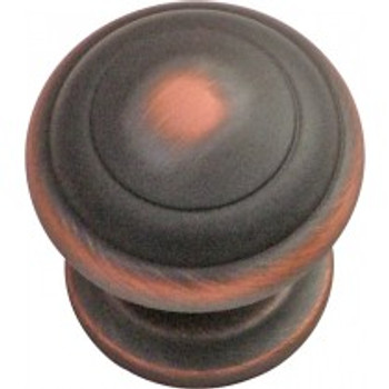 """Belwith Hickory, Zephyr, 1 1/4"""" Round knob, Oil Rubbed Bronze Highlighted"""