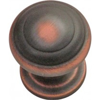 """Belwith Hickory, Zephyr, 1"""" Round knob, Oil Rubbed Bronze Highlighted"""