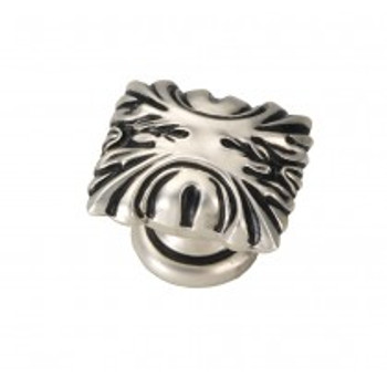 """Belwith Hickory, Ithica, 1 1/8"""" Square Knob, Satin Antique Silver"""