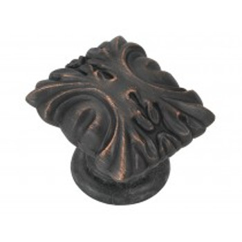 """Belwith Hickory, Ithica, 1 1/8"""" Square Knob, Vintage Bronze"""