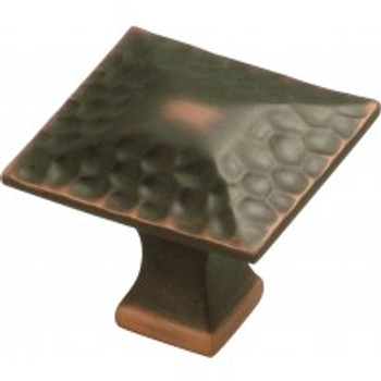"Belwith Hickory, Craftsman, 1 1/4"" Square Knob, Oil Rubbed Bronze Highlighted"