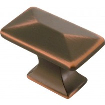 """Belwith Hickory, Bungalow, 1 1/4"""" Rectangle Knob, Oil Rubbed Bronze Highlighted"""