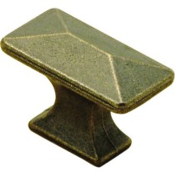 """Belwith Hickory, Bungalow, 1 1/4"""" Rectangle Knob, Windover Antique"""
