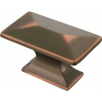"""Belwith Hickory, Bungalow, 1 3/4"""" Rectangle Knob, Oil Rubbed Bronze Highlighted"""