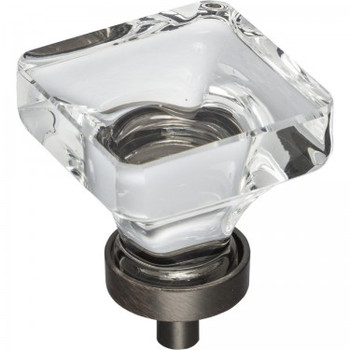 """Jeffrey Alexander, Harlow, 1 3/8"""" Square Clear Knob, Brushed Oil Rubbed Bronze Base"""