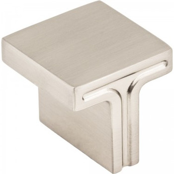 "Jeffrey Alexander, Anwick, 1 1/8"" Square Knob, Satin Nickel"
