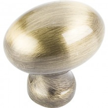 "Jeffrey Alexander, Bordeaux, 1 3/16"" Oval Knob, Brushed Antique Brass"