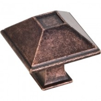 "Jeffrey Alexander, Tahoe, 1 1/4"" Square Knob, Distressed Oil Rubbed Bronze"