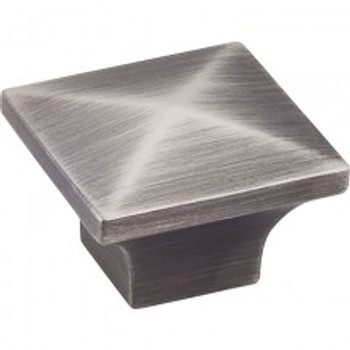 "Jeffrey Alexander, Cairo, 1 1/4"" Square knob, Brushed Pewter"