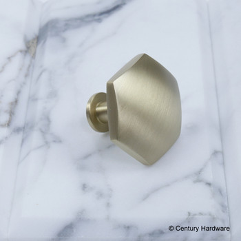 "Century, Modern Geo, 1 3/8"" Solid Brass, Hexagon Knob, Satin Brass, side view"