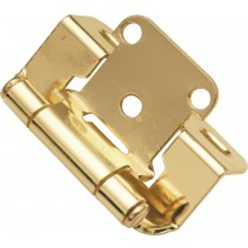 """Belwith Hickory, Hinge, Partial Wrap, Self Closing, 1/2"""" Overlay, Polished Brass"""