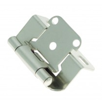 """Belwith Hickory, Hinge, Partial Wrap, Self Closing, 1/2"""" Overlay, Satin Nickel"""
