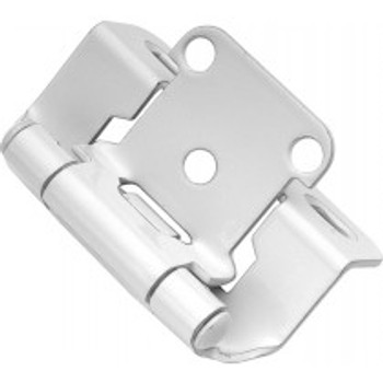 """Belwith Hickory, Hinge, Partial Wrap, Self Closing, 1/2"""" Overlay, White Powder Coat"""
