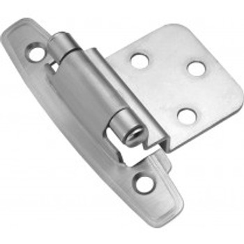 "Belwith Hickory, Hinge, Self-Closing Surface Mount 3/8"" Inset, Satin Silver Cloud"