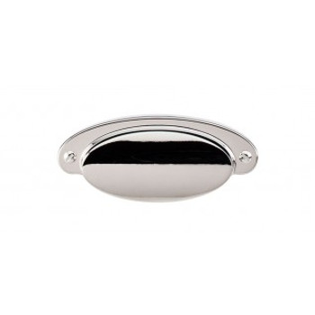 """Top Knobs, Asbury, Dakota, 2 9/16"""" Drill Center Cup pull, Polished Nickel"""