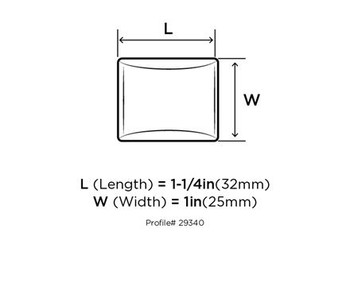 """Amerock, Candler, 1 1/4"""" (32mm) Length Rectangle knob, technical drawing - front"""