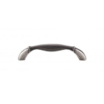 """Top Knobs, Edwardian, Straight, 3 3/4"""" (96mm) Curved Pull, Pewter Antique"""