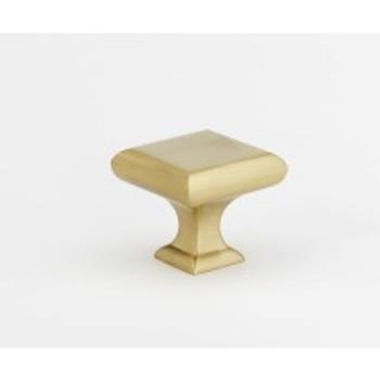 "Alno, Manhattan, 1 1/4"" Square Knob, Satin Brass"