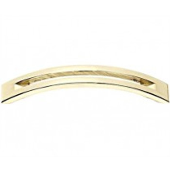 "Alno, Slit Top, 4"" Curved Pull, Polished Brass"