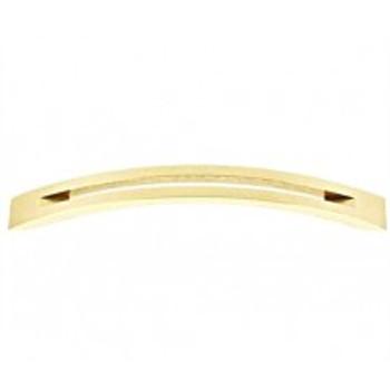 "Alno, Slit Top, 6"" Curved pull, Polished Brass"