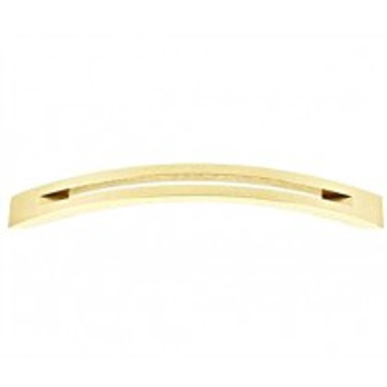 "Alno, Slit Top, 6"" Curved Pull, Polished Brass"