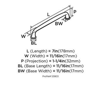 "Amerock, Kane, 6 5/16"" (160mm) Straight pull- front"