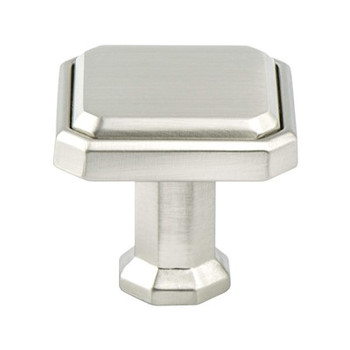 "Berenson, Harmony, 1 3/16"" Square Knob, Brushed Nickel"