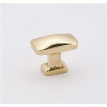 "Alno, Cloud, 1 1/4"" Rectangle Knob, Polished Brass"