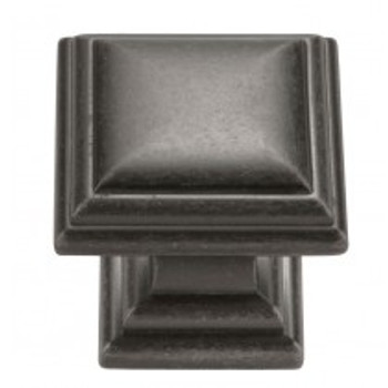 "Belwith Hickory, Somerset, 1 1/8"" Square Knob, Black Nickel Vibed"