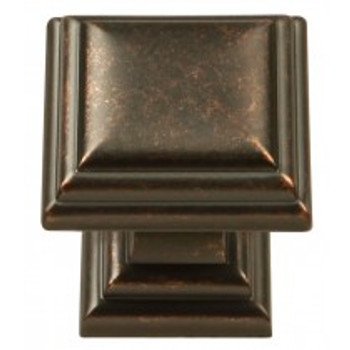 "Belwith Hickory, Somerset, 1 1/8"" Square Knob, Dark Antique Copper"