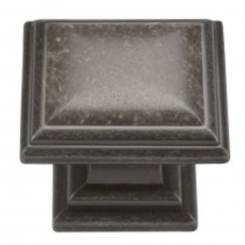 "Belwith Hickory, Somerset, 1 5/16"" Square Knob, Black Nickel Vibed"
