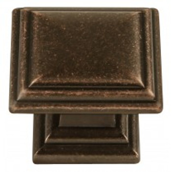 "Belwith Hickory, Somerset, 1 5/16"" Square knob, Dark Antique Copper"