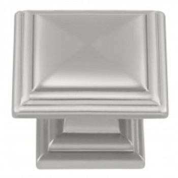 "Belwith Hickory, Somerset, 1 5/16"" Square knob, Satin Nickel"