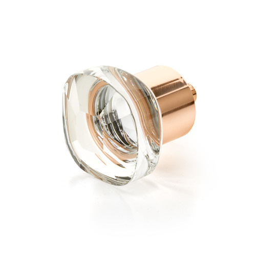 """Schaub and Company, City Lights, 1 1/4"""" Soft Cornered Square knob, Clear with Polished Rose Gold"""