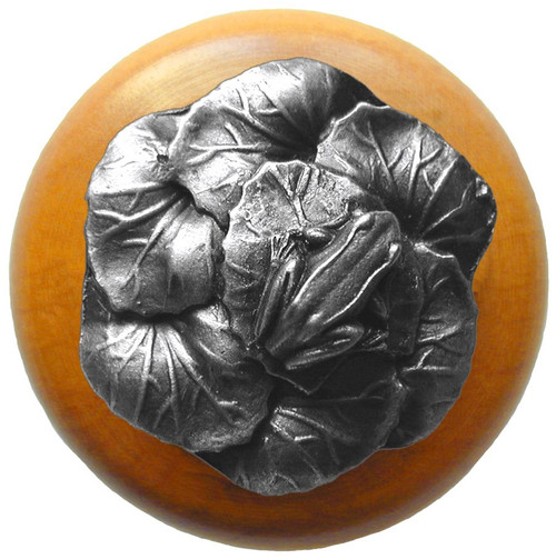 """Notting Hill, Leap Frog, 1 1/2"""" Round Wood Knob, in Antique Pewter with Maple Wood Finish"""