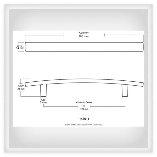 """Liberty Hardware, Arched Collection, 5 1/16"""" (128mm) Bar Pull,  Satin Nickel, technical drawing"""