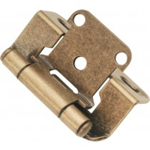 """Belwith Hickory, Hinge, Partial Wrap, Self Closing, 1/2"""" Overlay, Antique Brass"""