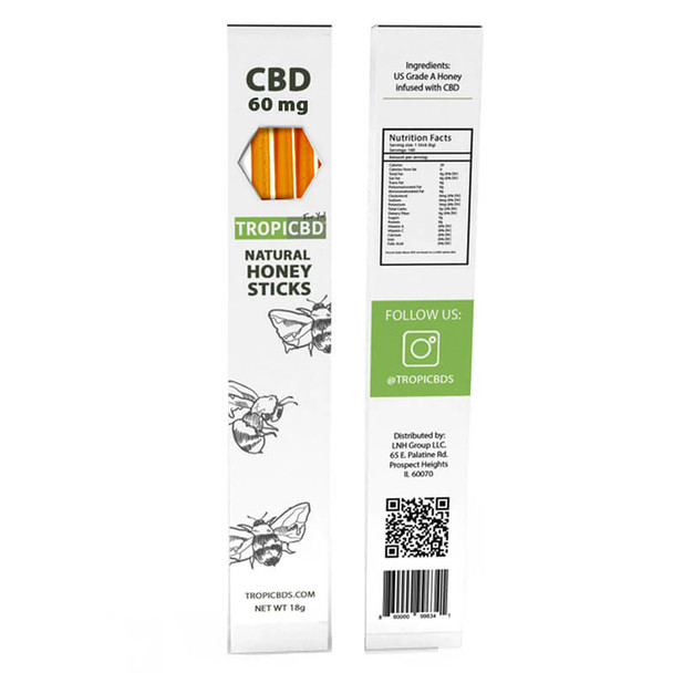 TropiCBD - CBD Edible - Natural Honey Stick - 20mg