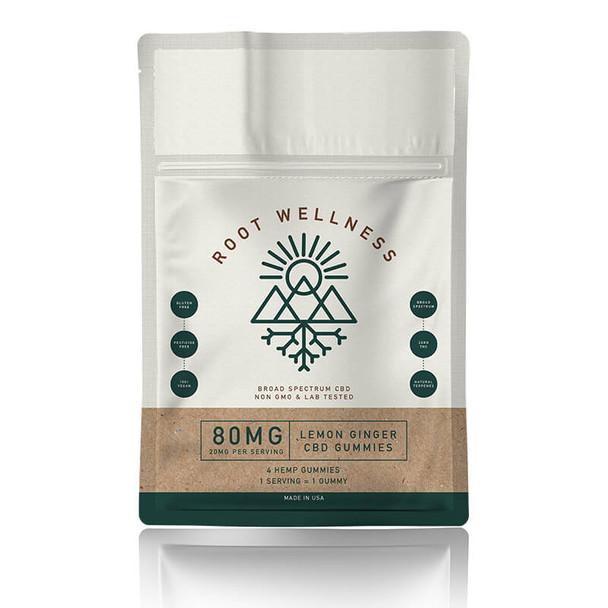 Root Wellness - CBD Edible - Lemon Ginger Gummies 4 Pack Pouch - 20mg